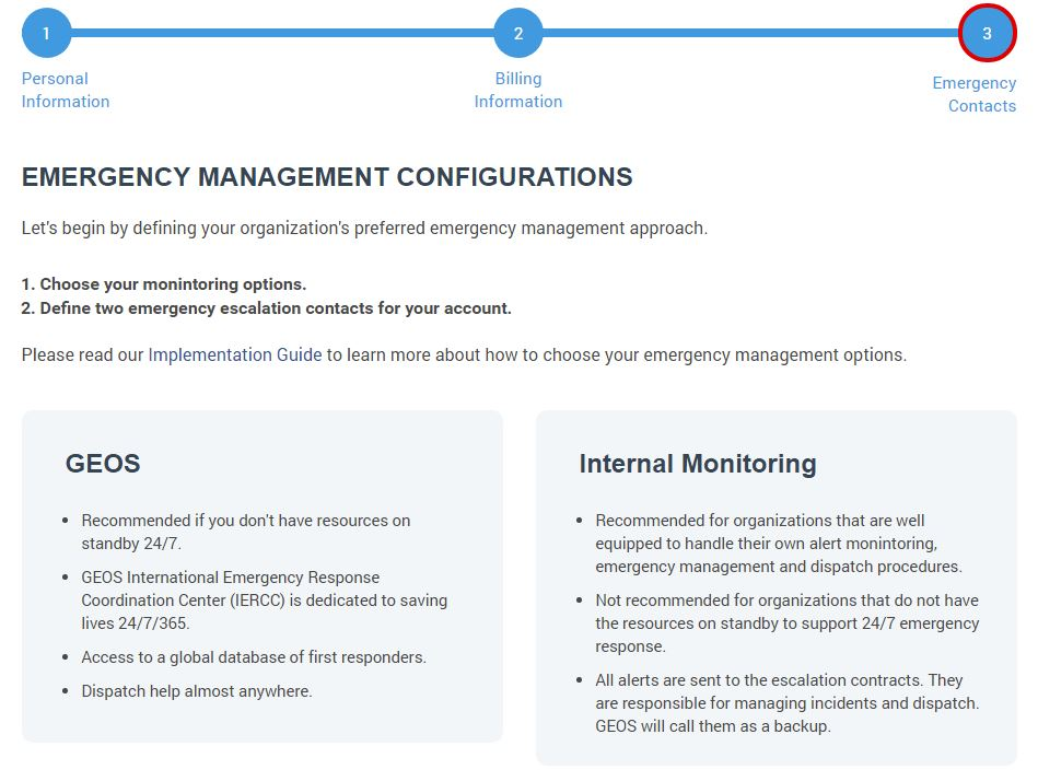 GeoPro emergency management configurations screen
